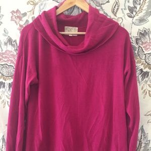 Pink Cowl Turtleneck Sweater